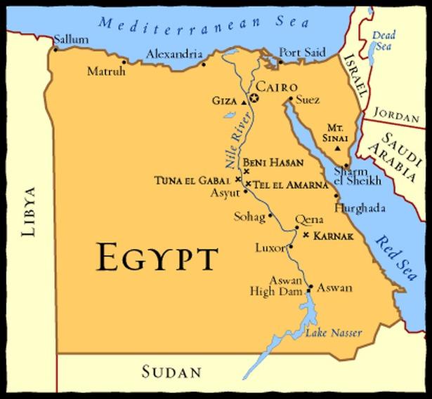 Map of Modern Egypt - A Journey Through Ancient Egypt